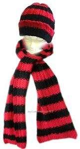 Winter Knit Hat Scarf Set Ski Beanie Red Black Striped