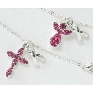 Club Pack of 24 Angel & Cross Breast Cancer Remembrance