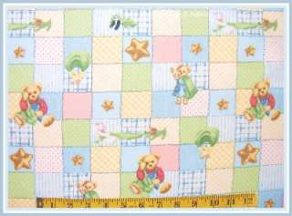 DAISY KINGDOM BLUE JEAN TEDDY TOYS COTTON BLANKIE PATCH BABY FABRIC