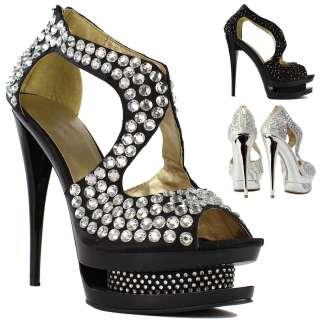 Ladies Designer High Heel Crystal Diamante Platform Prom Wedding Shoes