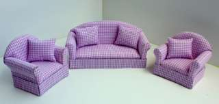 Set 3 Pink Dollhouse Sofa Miniatures Furniture Couch 1