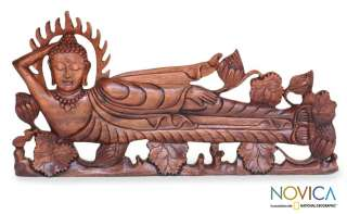 BUDDHA in NIRVANA~ Bali Wood ART Wall Panel Sculpture