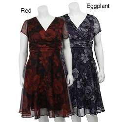 Connected Apparel Womens Plus Size Floral Print Chiffon Dress