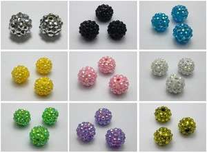 20 Pcs Acrylic Pave DISCO Ball Beads 14mm Spacer Beads Pick Your