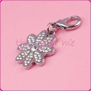 Pet ID Dog Cat Rhinestone Collar Tag Silver Flower NEW