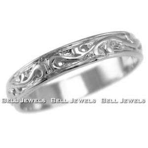 FINE 14k WHITE GOLD FLORAL WEDDING BAND RING ANTIQUE STYLE