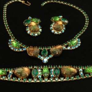Colored Rhinestone Vintage Set Necklace Bracelet & Earrings