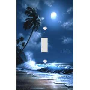 Moonlit Tropical Beach Decorative Switchplate Cover Home