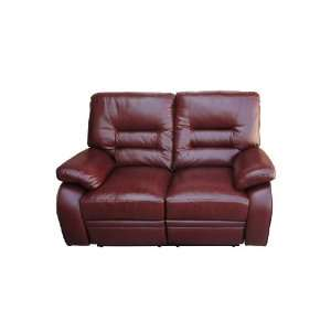 com European Style Dark Red Leather Reclining Double Seats Chair Sofa