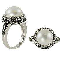 Freshwater Button Shaped Pearl Ring in Sterling Silver