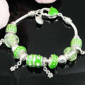SILVER PLATED GREEN MURANO GLASS BEADS EUROPE BRACELET XMAS GIFT