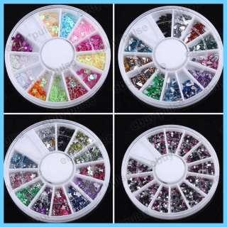 10 Nail Art Glitters Beads Rhinestone Decoration Wheel