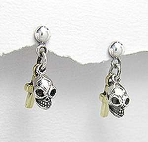 925 Silver Gothic Skull w Cross Earrings Harley Jewelry