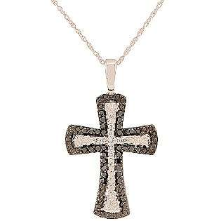 cttw Black and White Diamond Cross Pendant. 10K White Gold  Jewelry