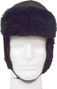 Black Fur Trapper Cold Winter Weather Military Trooper Hat w/Ear Flaps