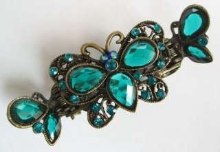 SWAROVSKI CRYSTAL BRONZE BUTTERFLY HAIR CLAW CLIP 220 VINTAGE