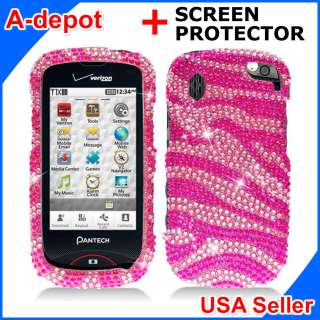 8992 Verizon Pink Zebra Bling Hard Case Cover +Screen Protector