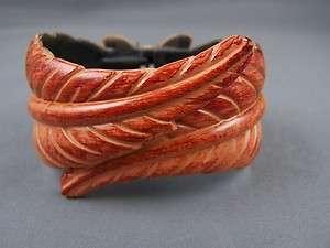 Rust Copper carved hinged Leaf Leaves bangle bracelet