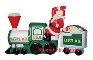 Santa Claus Christmas Train Outdoor Light Up Plastic Blow Mold