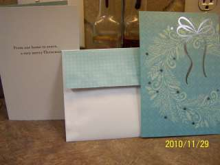 25 EMBOSSED RAISED ELEGANT CHRISTMAS CARDS TEAL SILVER