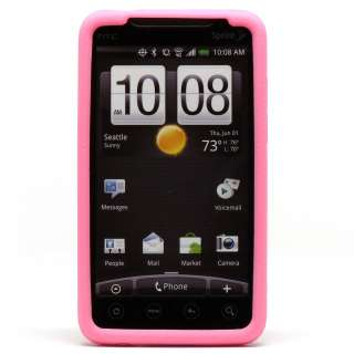 Pink Rubber Silicone Gel Soft Cover Case Skin Sleeve for Sprint HTC