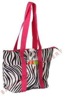 Insulated Lunch Box Bag Kit Cooler Pink Zebra Large