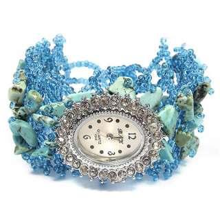Gemstone & Quartz Ladies Handmade Jewellery Bracelet Watch