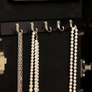 Wall Mount Scroll Locking Jewelry Armoire Mirror   High Gloss Black