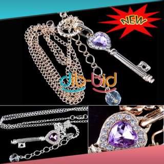 Lady Purple Crystal Bead Heart Love Key Crown Pendant Elegant Necklace