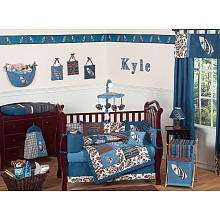 JoJo Designs Blue and Brown Surf Collection 9 Piece Crib Bedding Set