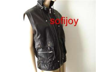 BY CHLOE sz 42 6 8 black lamb LEATHER vest motorcycle biker top w/hood