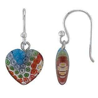 Red Glass Heart Earrings  Jewelry Sterling Silver Earrings