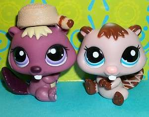 Littlest Pet Shop~BEAVER/WOODCHUCK PAIR~PINK #1990 & PURPLE #1410~LPS