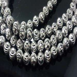 10K Mens White Gold Moon Cut Beaded Chain Necklace 38 Long Franco