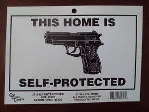 CUT CRIME CARD ~ HOME PROTECTION 5 X 7 VINYL SIGN