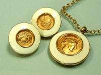 Vintage Monet enamel Roman CAMEO necklace earrings set
