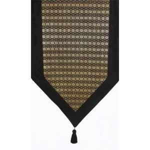 Table Runner   Classic Brocade Thai Silk Blend   Black