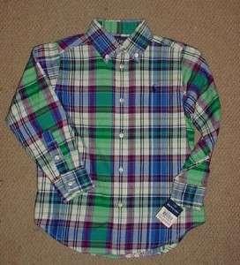 Ralph Lauren Long Sleeve Button Up Shirt Blake Twill Plaid Blue