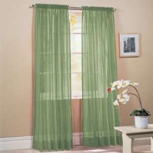 Sage Green Solid Sheer Window Panel Brand New Curtain Home & Kitchen