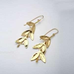 NEW 24k Gold Plated Dangle Earrings Leaf Aura long wow