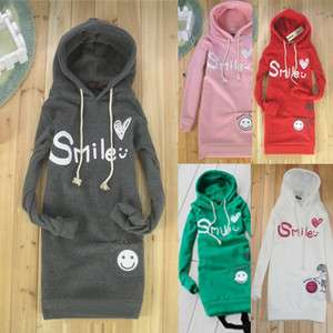 Girls Winter Smile Face Printed Long Hoodie Coat Outerwear G509 S Size