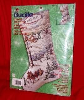 Bucilla WINTER SCENE Stocking Counted Cross Stitch Christmas Kit