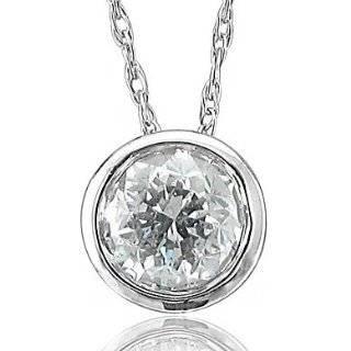 14k White Gold Solitaire Diamond Pendant Necklace (HI, I