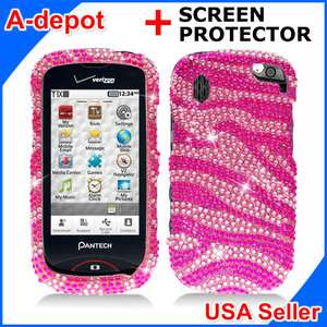 Pantech Hotshot 8992 Verizon Pink Zebra Bling Hard Case Cover +Screen