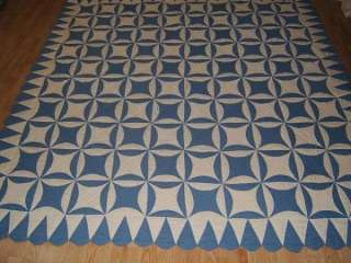 Hand Quilted ROB PETER TO PAY PAUL BLUE & WHITE Queen Quilt 83x83