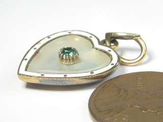 ENGLISH 9K GOLD EMERALD PEARL ENAMEL HEART SHAPED CHARM PENDANT c1890