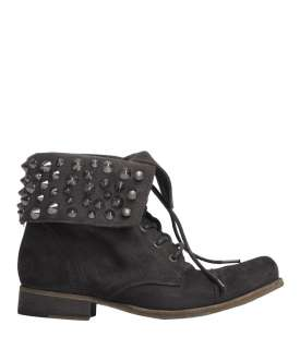 Suede Stud Military Cuff Boot, Women, Footwear, AllSaints Spitalfields