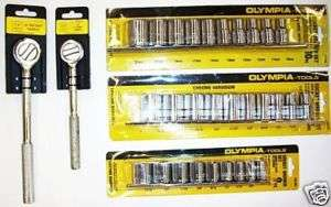 32 Pc. Olympia Ratchet Socket Set 3/8 & 1/2 Drive New