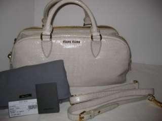 MIU MIU PRADA Large Croc Leather Tote Shoulder Cross Body Bag Handbag