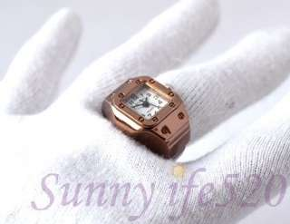 Vintage Rose Golden Mens Women Finger Ring Quartz Watch